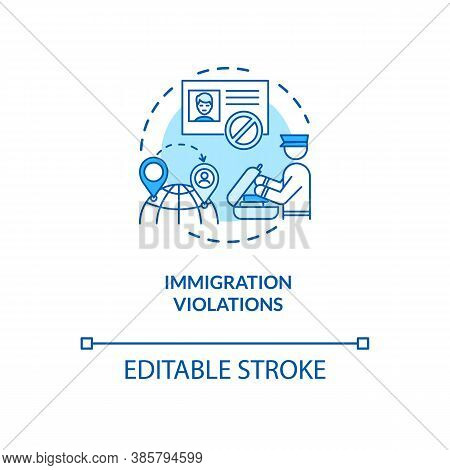 Immigration Violations Concept Icon. Border Crossing Security System. Biometrics Safe Keeping Techno