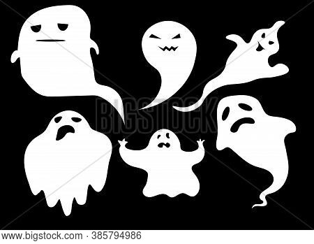 Collection Of Eerie Flying Halloween Ghosts. Halloween Ghosts. Ghostly Monster With Boo Scary Face S