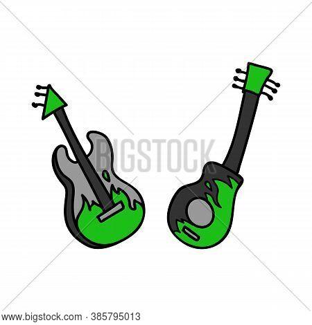 Punk Rock Guitar Set Vector Illustration Clipart. Simple Alternative Sticker. Kids Emo Rocker Cute H