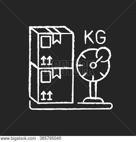 Cargo Weight Chalk White Icon On Black Background. Postal Service, Freight Transportation. Measuring
