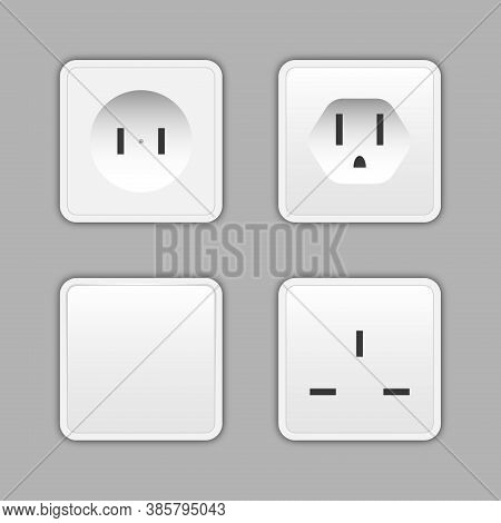 Switches And Sockets Set. All Types. Wall Switch. Power Electrical Socket Electricity Turn Of And On