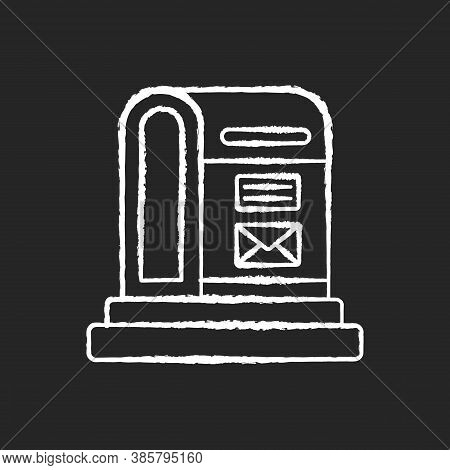 Parcel Post Chalk White Icon On Black Background. Public Postal Service. Mail Transportation Busines