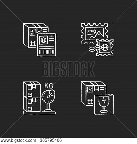 Postal Shipping Chalk White Icons Set On Black Background. Shipment Label, Postage Stamps, Cargo Wei