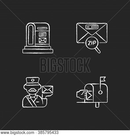 Courier Delivery Chalk White Icons Set On Black Background. Professional Mailman, Letter Zip Code, P