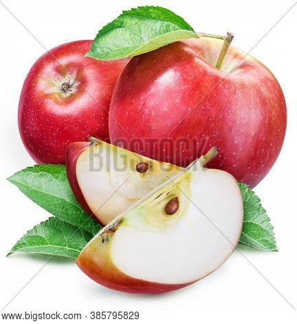 Red apples with leaves and apple slices isolated on a white background. Clipping path.