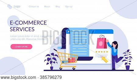 E-commerce Services. Online Shopping Concept. Marketing And Digital Marketing. Flat People Character
