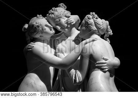 Milan, Italy - June 2020: Antonio Canova's Statue The Three Graces (le Tre Grazie). Neoclassical Scu