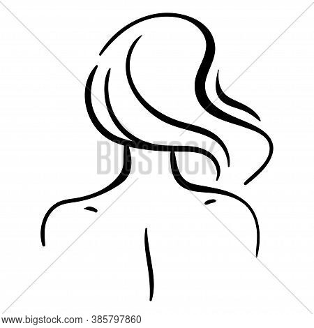 Fashion Portrait Of Woman Head From Back, Including Neck And Shoulders. Minimalistic Line Illustrati