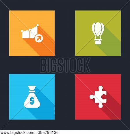 Set Financial Growth, Hot Air Balloon, Money Bag And Piece Of Puzzle Icon. Vector