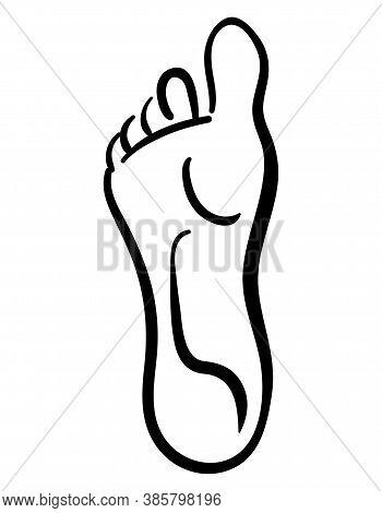 Black Illustration Of Line Style Human Foot, Minimalitic Logo Icon
