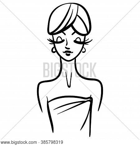Woman Cartoon Line Illustration In Bath Towel. Girl With Long Lashes, Fashion Portrait Style