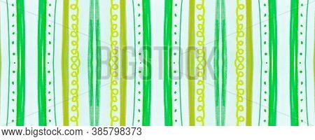 Seamless Tribal Background. Green African Ethnic Pattern. Hand Drawn Shibori Motif. Geometric Bohemi