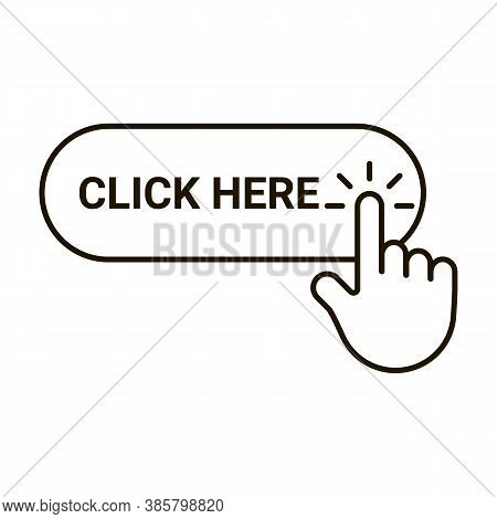 Click Here Button With Hand Pointer Clicking, Editable Outline Icon. Cursor Sign With Finger For Cli
