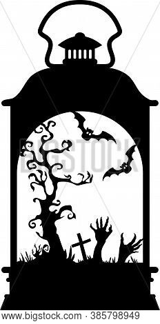 Illustration On Halloween Lantern . Lamp Silhouette With Scary Tree, Bats And Pumpkin, Halloween Sce