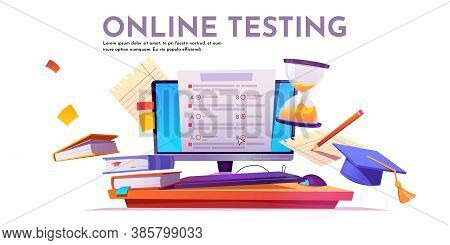Online Testing Banner. Concept Of E-learning, Examination On Computer. Vector Illustration Of Monito