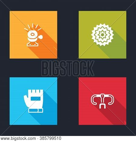 Set Bicycle Bell, Cassette, Gloves And Handlebar Icon. Vector