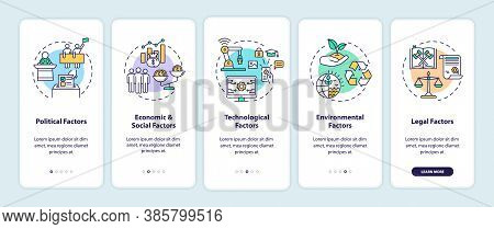 Pestel Analysis Onboarding Mobile App Page Screen With Concepts. Types Of Communicational Factors Wa