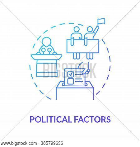 Political Factors Concept Icon. Pestel Analysis Plan. Election Program Choosing. Business Troubles S