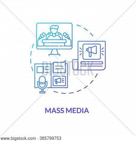 Mass Media Concept Icon. Communication Channels. Watching Live Television. Hot News From Journals An
