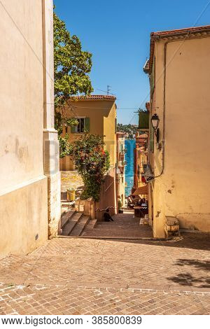 French Riviera. View of the Narrow Streets of the Old Town in Villefranche, France.