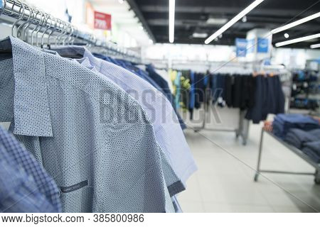 Clothing Store In A Hypermarket. Sale In A Clothing Store.