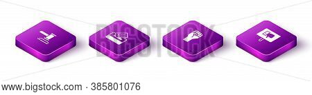 Set Isometric Judge Gavel, Vote Box, Raised Hand With Clenched Fist And Protest Icon. Vector