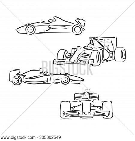 Formula One Sketch In Black Lines , Sports Car Vector Sketch Illustration