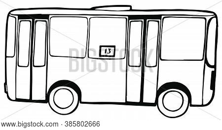 A Small Bus Of Yesteryear For Passenger Transport. Vector Illustration
