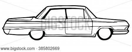 Drawing On White. Legacy Car With Front Doors Only. Vector Illustration