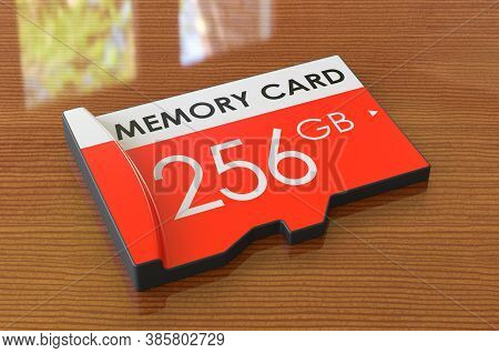 Memory Card 256 Gb On The Wooden Table. 3d Rendering