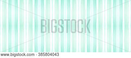 Seamless Watercolor Stripes. White Geometric Stroke Wallpaper. Horizontal Retro Motif. Green Brushst