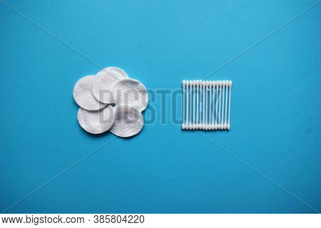 Cotton Buds And Sponges On Blue Background. Plastic Cotton Swabs. Flat Lay Composition Products For