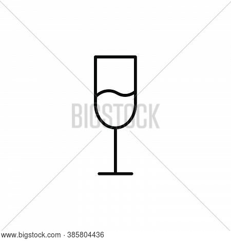 Glass With Wine Outline Vector Icon. Thin Line Wineglass, Flat Vector Simple Element Illustration Fo