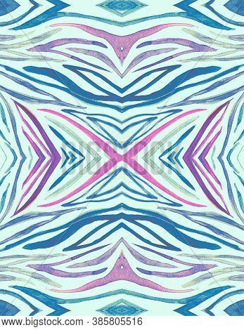 Seamless Zebra Ornament. Blue Cheetah Print. Watercolor Animal Texture. Fashion Wild Stripes. Zebra
