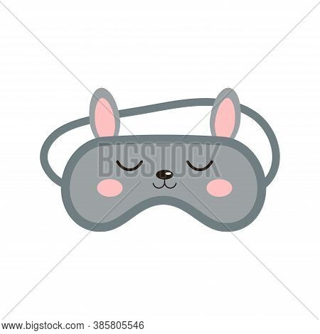Bunny Rabbit Sleep Beauty Mask Icon Isolated On White Background. Eye Protection Wear Accessory - Cu