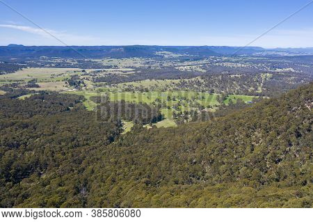 Aerial View Of A Large Green Agricultural Valley In The Central Tablelands In Regional New South Wal
