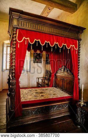 Renaissance Bedroom At The Castle Grabstejn, Ancient Medieval Gothic Chateau Near Chotyne, Liberec R