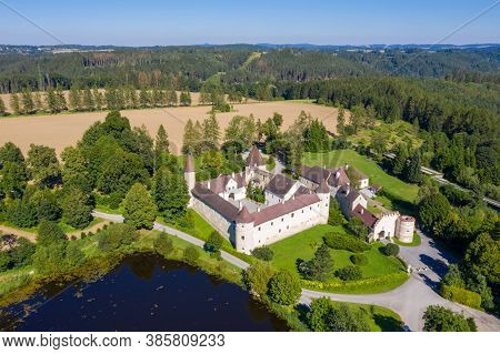 Gut Ottenstein In Waldviertel, Lower Austria. Aerial View To The Beautiful Historic Building Close T