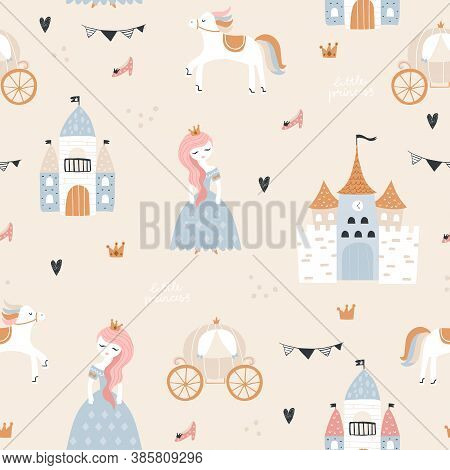 Childish Seamless Pattern With Princess, Castle, Carriage In Scandinavian Style. Creative Vector Chi