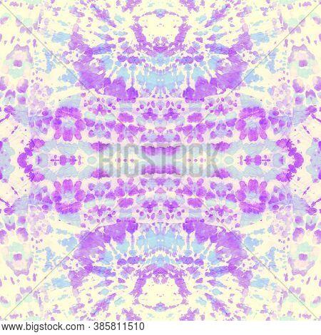 Dyeing Cloth. White Shibori Seamless Print. Violet Tie Dyeing Splash. Background Ties. Spring Waterc