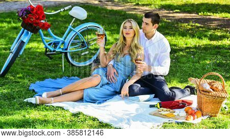 Time To Relax. Romantic Picnic In Park. Cute Couple On Date On Blanket. Camping Concept. Happy Coupl