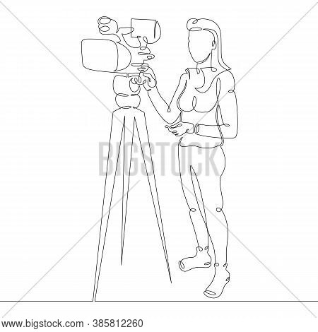One Continuous Drawing Line Logo Portrait Young Woman Journalist Stands Next To A Video Camera On A