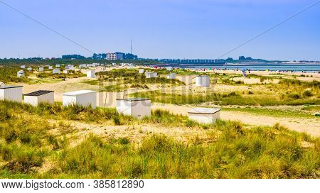 Beautiful Dunes With Beach Cottages And Touristy Beach, Breskens, Zeeland, The Netherlands