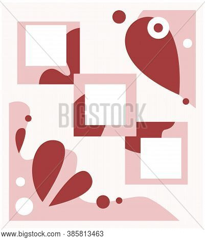 Abstract Form Red Shades Pastel Elaborated Color Mood Board Template.trendy Color Palette For Posts