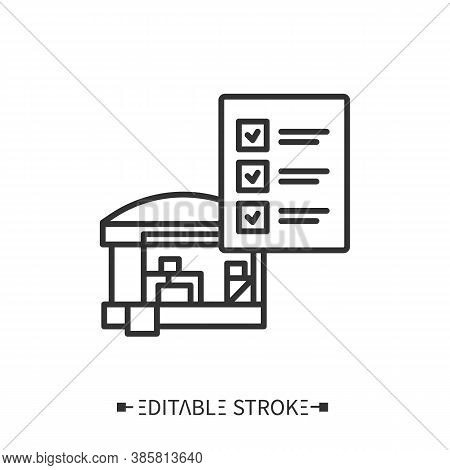 Inventory Check Line Icon. Stock Counting. Inventory Calculating. Transportation, Storage And Logist