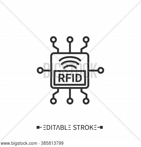 Radio Frequency Identification Line Icon. Rfid Chip. Theft Protect. Transportation, Storage And Logi
