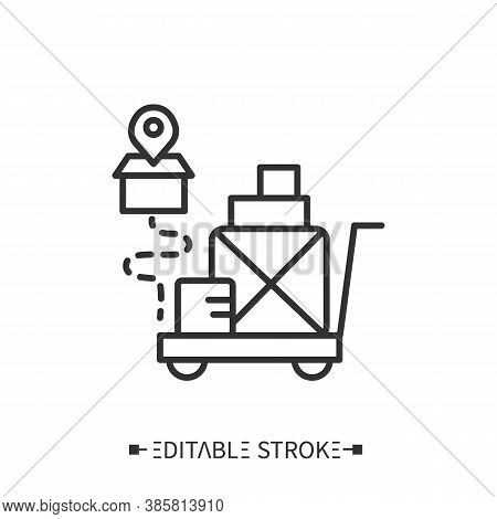 Goods Receipt Line Icon. Replenishment Of Inventory. Supplies. Transportation, Storage And Logistics