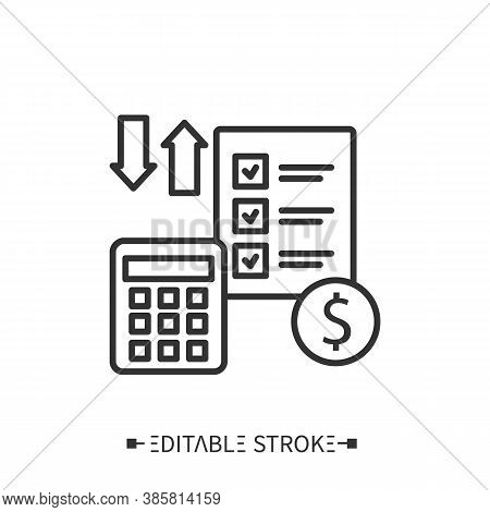 Financial Account Line Icon. Accounting For Storage Costs. Transportation, Storage And Logistics Ser