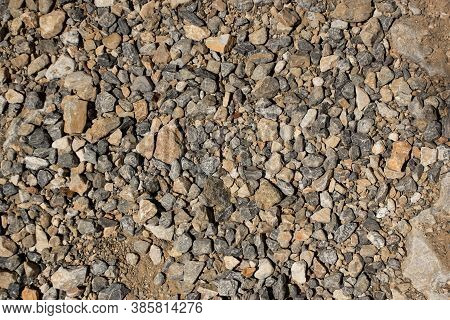 Multi Colored Pebbles Background. Natural Stone. Close-up Texture Of Pebbles.