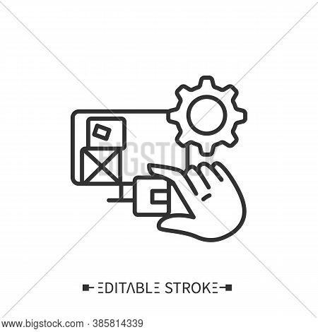 Inventory Management Line Icon. Inventory Control Software. Transportation, Storage And Logistics Se